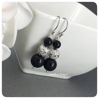Swarovski Black Pearl Rhinestones Drop Earrings