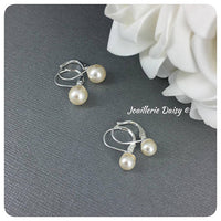 Swarovski Cream Pearl Leverback Stud Earrings