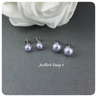 Swarovski Lavender Pearl Stud Earrings