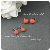 Swarovski Coral Pearl Stud Earrings