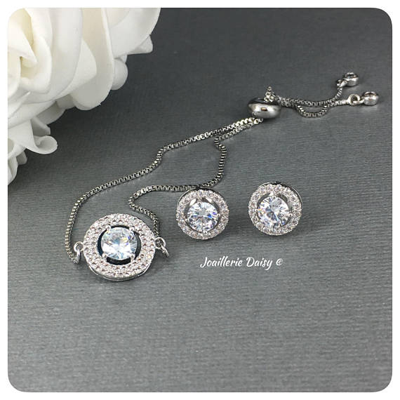 Cubic Zirconia Bracelet Set - Round Shaped Jewelry Set