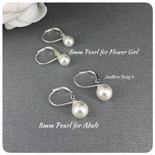 Swarovski White Pearl Leverback Stud Earrings