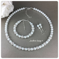White Pearl and Rhinestones Necklace Set Bridal Party Jewelry Set