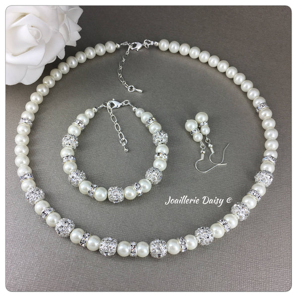 Ivory Pearl and Rhinestones Necklace Bridal Party Jewelry Set