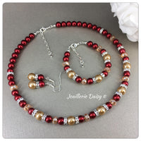 Red and Champagne Pearl Necklace Bridal Party Jewelry Set