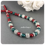 Red and Green Pearl Christmas Necklace Bridal Party Jewelry Set