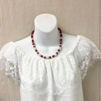Ivory and Red Pearl Christmas Necklace Bridal Party Jewelry Set
