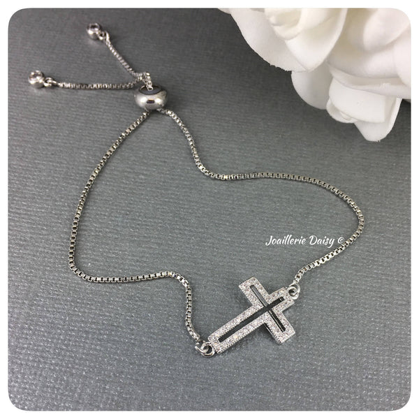 Cubic Zirconia Cross Adjustable Bracelet