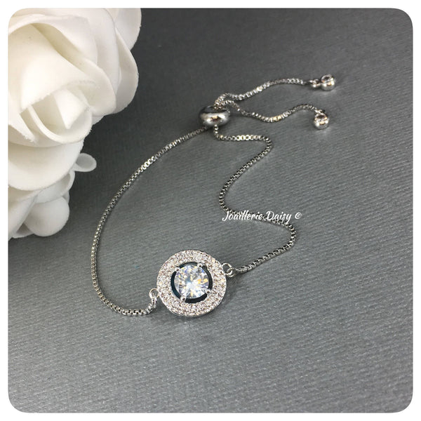Cubic Zirconia Circle Adjustable Bracelet
