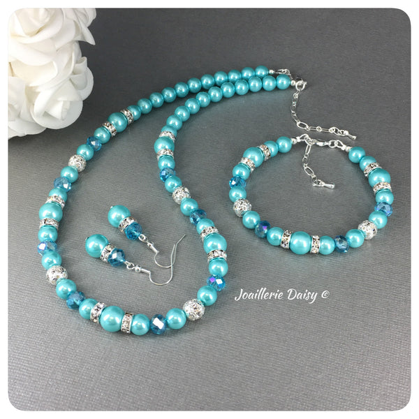 Aqua Pearl and Crystal Bridal Party Jewelry Set