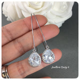 Cubic Zirconia Bridesmaid Silver Teardrop Long Earrings