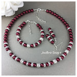 Burgundy Pearl Christmas Necklace Bridal Party Jewelry Set