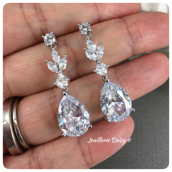Cubic Zirconia Leaf Silver Long Drop Earrings