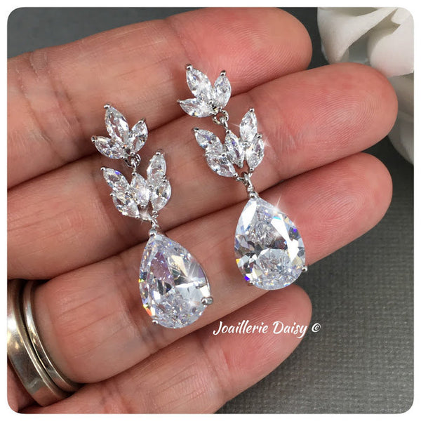 Cubic Zirconia Bridal Silver Drop Earrings