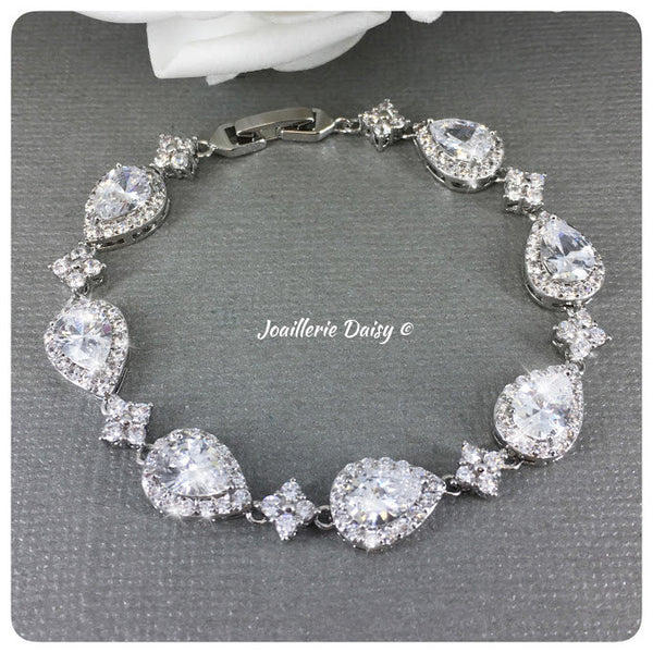 Cubic Zirconia Statement Bridal Bracelet