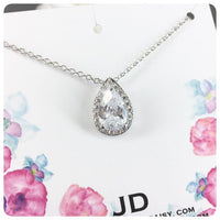 Cubic Zirconia Simple Teardrop Pendant Necklace