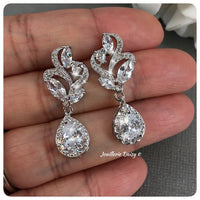Cubic Zirconia Flower Silver Drop Earrings