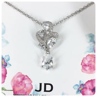 Cubic Zirconia Flower and Teardrop Pendant Necklace