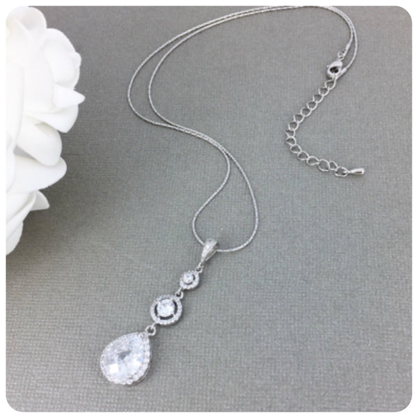 Cubic Zirconia Teardrop Long Bridal Pendant Necklace
