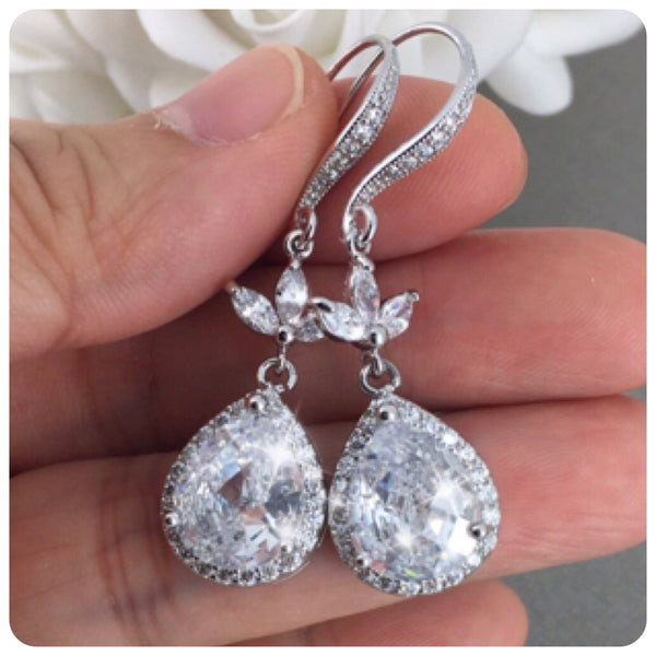 Cubic Zirconia Leaf and Teardrop Bridal Earrings