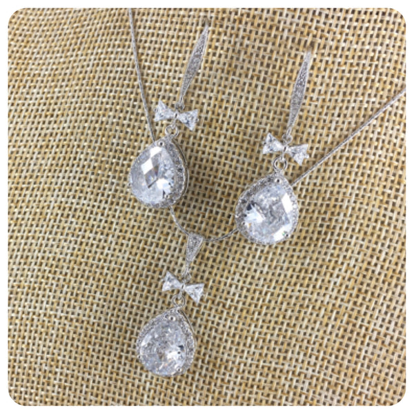 Cubic Zirconia Necklace Set - Bow and Teardrop Jewelry Set
