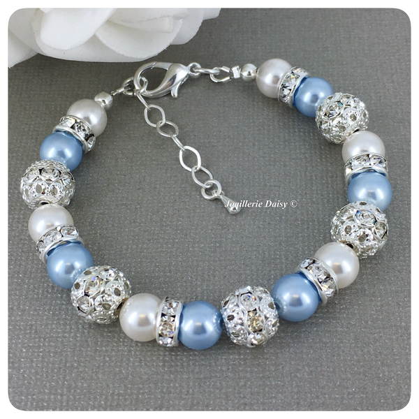 Swarovski Light Blue and White Pearl Single Strand Bracelet