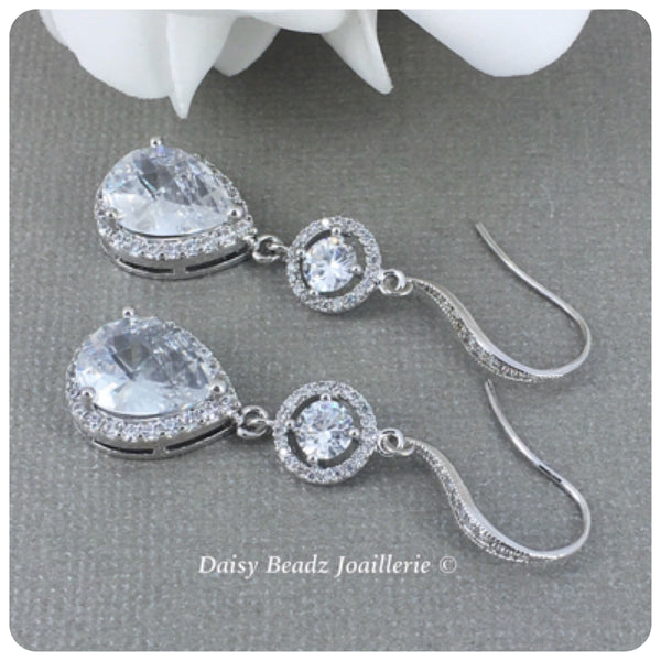Cubic Zirconia Bridal Silver Teardrop Earrings
