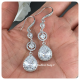 Cubic Zirconia Pear Silver Long Drop Earrings