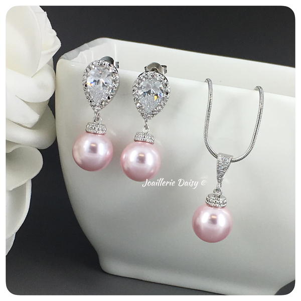 Swarovski Rosaline Pearl Necklace Set