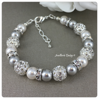 Swarovski Gray and White Pearl Single Strand Bracelet