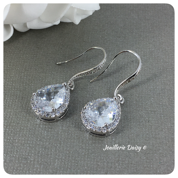 Cubic Zirconia Teardrop Bridesmaid Earrings