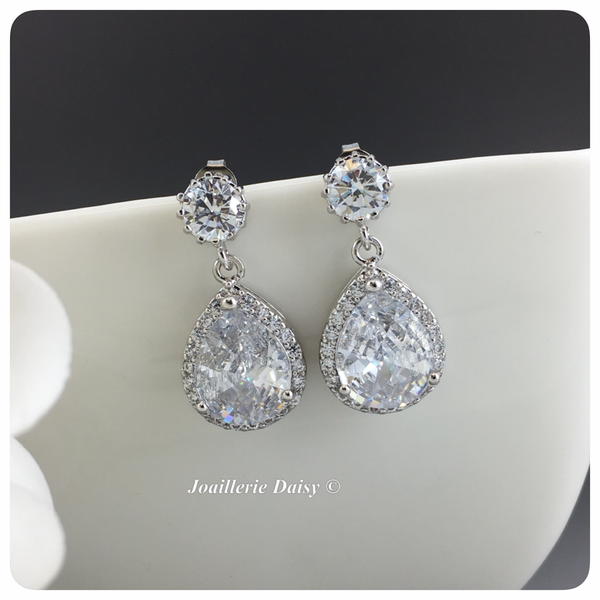 Silver Teardrop Cubic Zirconia Bridal Earrings