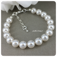 Swarovski White Pearl Simple Single Strand Bracelet