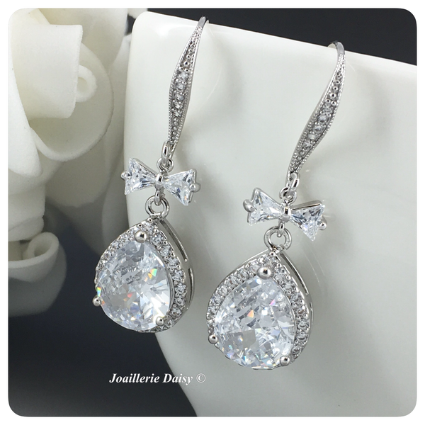 Cubic Zirconia Silver Ribbon and Pear Drop Earrings
