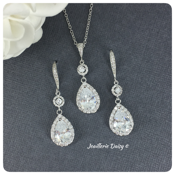 Cubic Zirconia Necklace Set Long Earrings Set