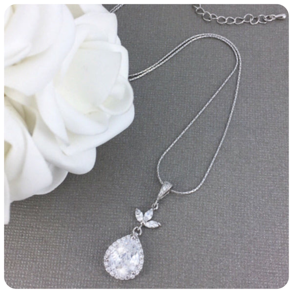 Cubic Zirconia Leaf Long Pendant Necklace