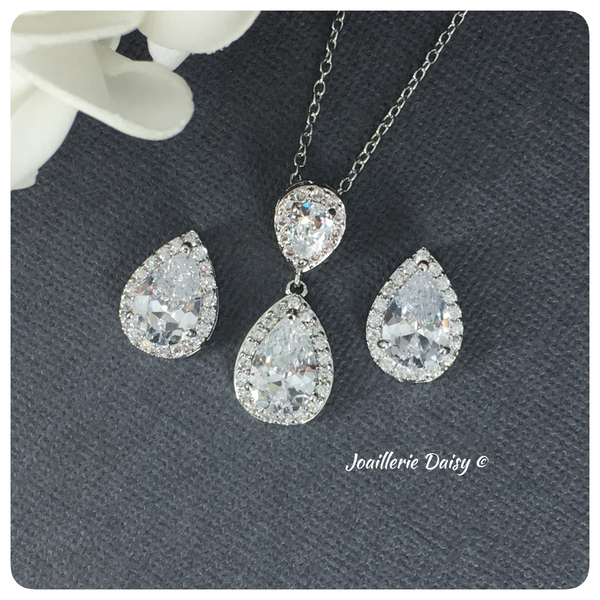 Cubic Zirconia Necklace Set Bridesmaids Jewelry Set