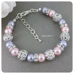 Swarovski Pink and Lavender Pearl Single Strand Bracelet
