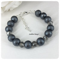 Gray Texture Bead and Crystal Bracelet Set Bridal Party