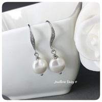 Swarovski White Coin Pearl Drop Earrings