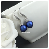 Swarovski Iridescent Blue Pearl Drop Earrings