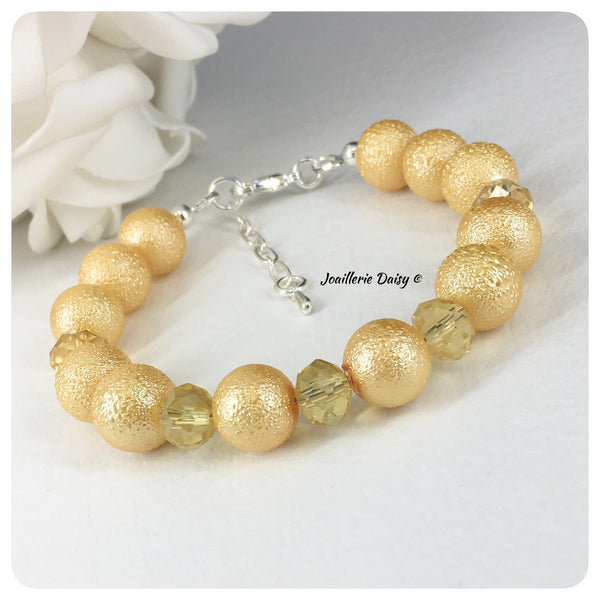 Yellow Texture Bead and Crystal Bracelet Set Bridal Party