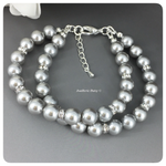 Swarovski Light Gray Pearl Rhinestones Multi Strands Bracelet
