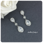 Cubic Zirconia Bridal Teardrop Wedding Earrings
