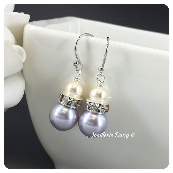 Swarovski Pearl Lavender and Cream Drop Earrings