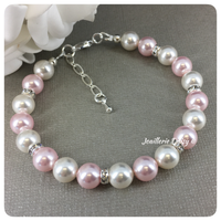 Swarovski Rosaline and White Pearl Single Strand Bracelet