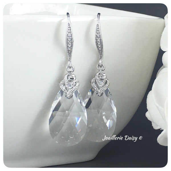 Swarovski Pear Crystal Cubic Zirconia Drop Earrings