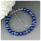 Swarovski Iridescent Blue Pearl Single Strand Bracelet