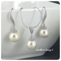 Swarovski White Pearl Necklace Set