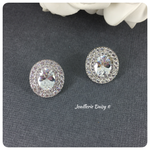 Cubic Zirconia Big Oval Bridal Stud Earrings